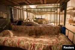 Кішка лежить на ліжку у бомбосховищі. Донецьк, вересень 2014 року