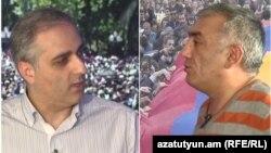 Քաղաքագետ Հայկ Մարտիրոսյանը (ձախից) և լրագրող Մհեր Ղալեչյանը «Ազատության» տաղավարում, Երևան, 9-ը մայիսի, 2019թ․