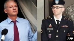 Основатель Wikileaks Джулиан Ассандж (слева) и рядовой армии США Брэдли Мэннинг.