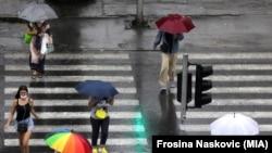 Дожд во Скопје. Илустрација.