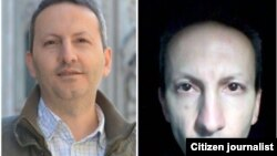 Ahmad Reza Jalali a Swedish-Iranian doctor who is a political prisoner in Iran; before his arrest (L) and in prison.