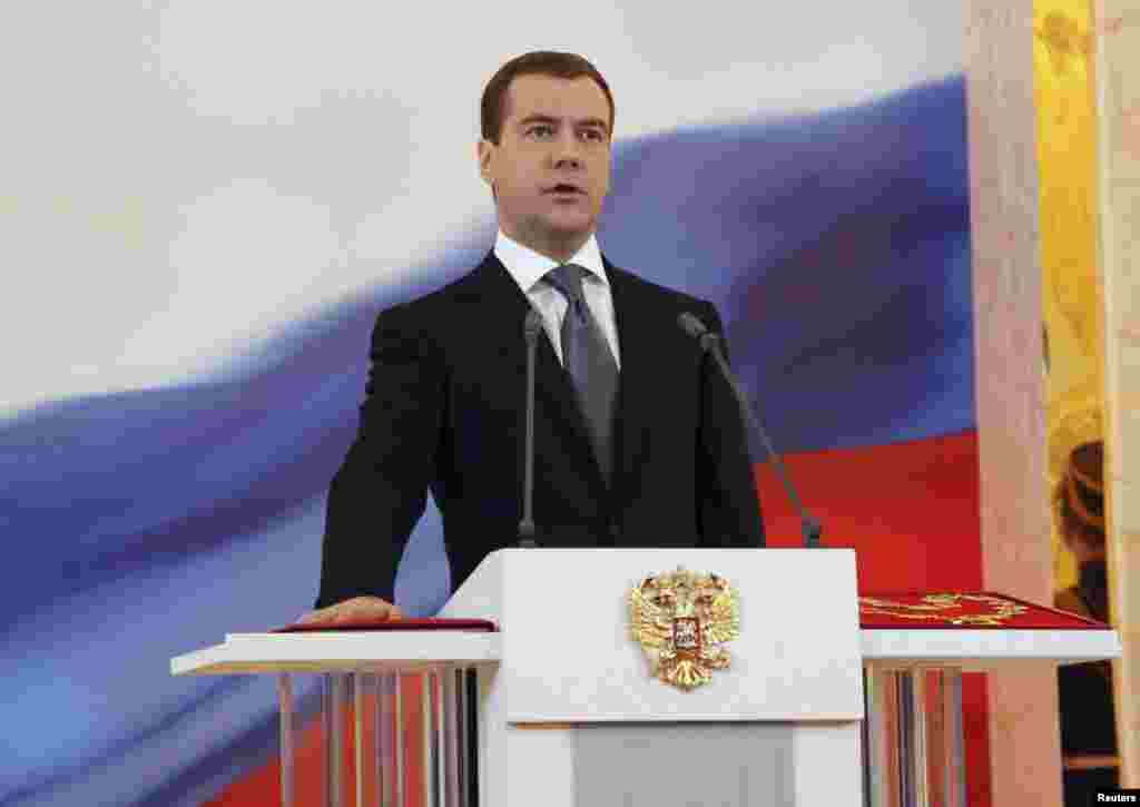 "Dmitry Medvedev is sworn in as Russian president in the Kremlin throne room on May 7, 2008. The following day, Medvedev appointed Putin prime minister, as he had promised to do during the election campaign. The pair were sometimes referred to in the press as a ""ruling tandem."""