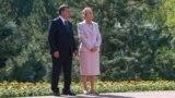 Uzbek President Shavkat Mirziyoev and Tatyana Karimova, the widow of former President Islam Karimov, attend the dedication of his mausoleum in Tashkent on August 31, 2017. It marked Karimova's last public appearance.
