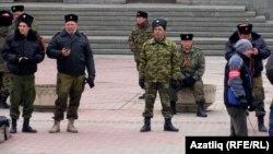 Російські казаки в Сімферополі, 9 березня 2014 року