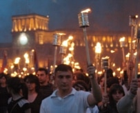 Armenians march through Yerevan in 2005 to mark the 90th anniversary of the slaughter start of mass killings of Armenians in the Ottoman Empire (ITAR-TASS)