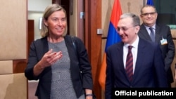 Belgium - EU foreign policy chief Federica Mogherini and Armenian Foreign Minister Zohrab Mnatsakanian arrive for a meeting of the EU-Armenia Partnership Council in Brussels, 21 June 2018.