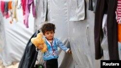 کودک کرد کوبانی که از شهر خود در سوریه آواره شده است.