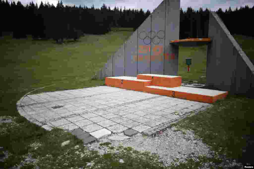 The podium where medals were awarded near the ski jump site on Mount Igman
