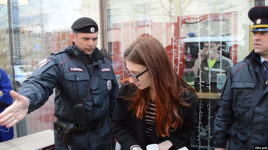 Demonstrators are arrested in Moscow earlier this month for delivering a petition demanding an investigation into the persecution of gay men in Chechnya.