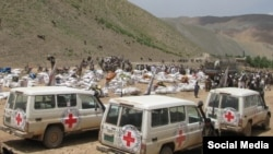FILE: An ICRC convoy in a remote part of Afghanistan.