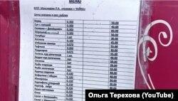Ціни в одному із кафе у Сєдовому (вказані у рублях)