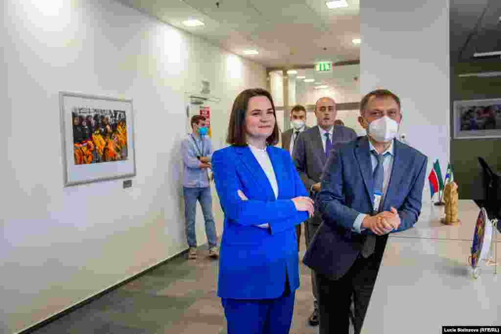 INTERNAL USAGE ONLY -- CZECH REPUBLIC – Belarusian opposition leader Svyatlana Tsikhanouskaya during visit at RFE/RL Headquarters in Prague, June 8, 2021 (permission to be requested at Photo Desk)