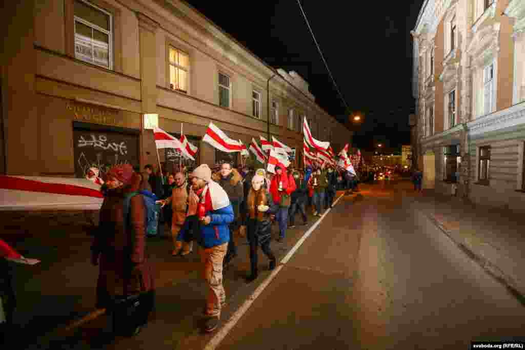 Lithuania - Belarusians marching through Vilnius streets to honour reburied 1863 heroes, 23Nov2019
