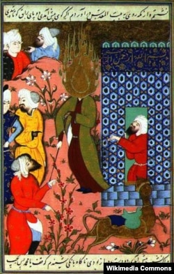 Həzrəti Məhəmməd meracdan qayıdır.