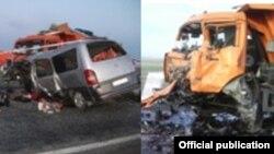 Место аварии. Фото предоставлено пресс-службой ДВД Карагандинской области РК.