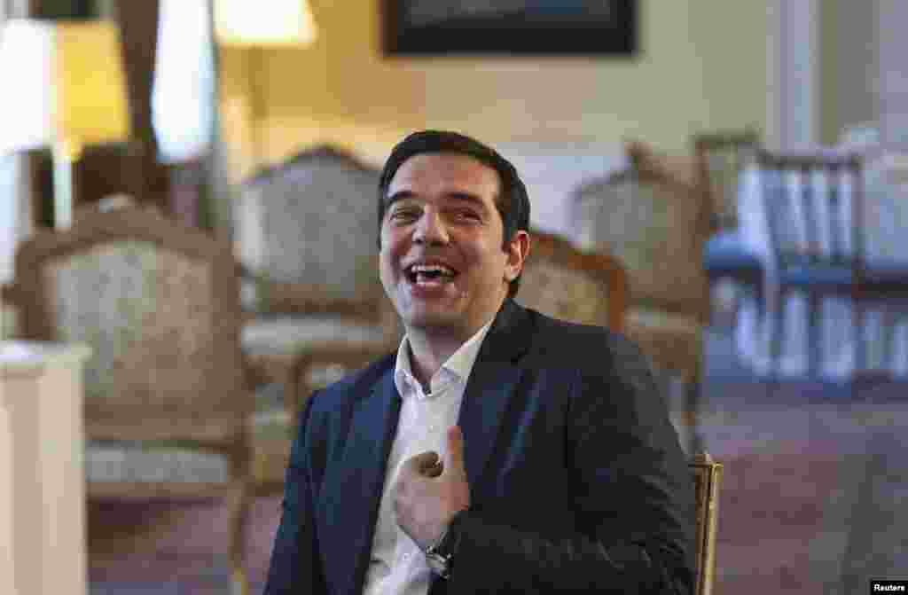 Yunanıstanın baş naziri Alexis Tsipras prezident sarayında olarkən.REUTERS/Ronen Zvulun