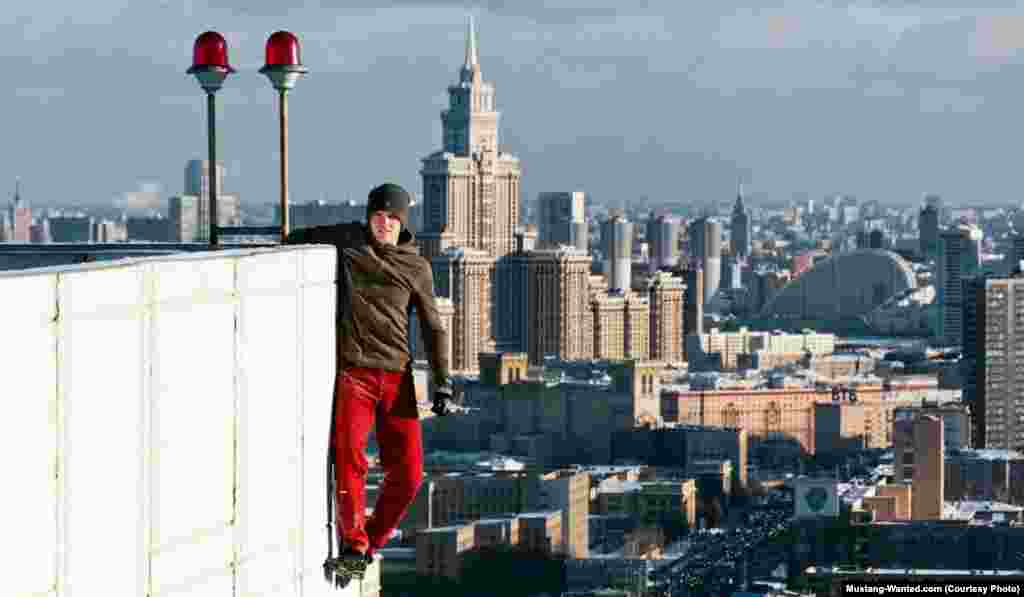 Clinging to the side of a Moscow apartment building