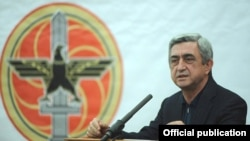 Armenia - President Serzh Sarkisian speaks at a conference held by the women's wing of his Republican Party in Tsaghkhadzor, 5Feb2012.