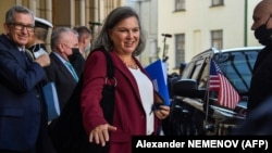 U.S. Undersecretary of State for Political Affairs Victoria Nuland leaves the Russian Foreign Ministry after her meeting with the deputy foreign minister in Moscow on October 12.