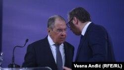 Kryediplomati rus, Sergei Lavrov dhe presidenti serb, Aleksandar Vuçiq. Beograd, 10 tetor 2021.