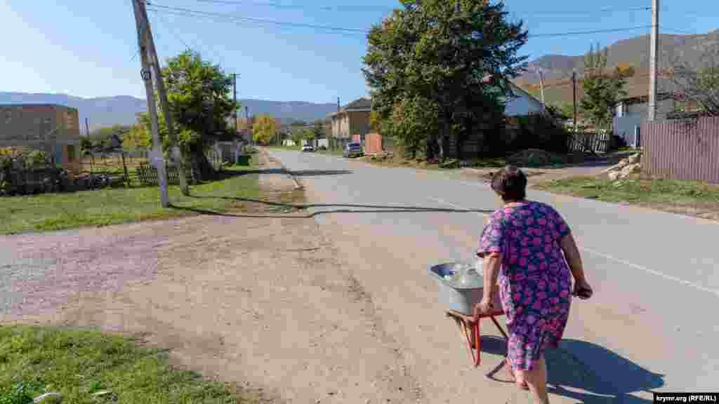Головною вулицею, Комсомольською, з візком. У ньому жінка доставляє воду в пластикових бутлях для домашньої худоби на випасі