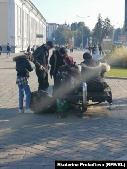 Беженцы в центре Минска