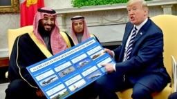 دونالد ترامپ، رئیس جمهور آمریکا (سمت راست) و محمد بن سلمان، ولیعهد سعودی