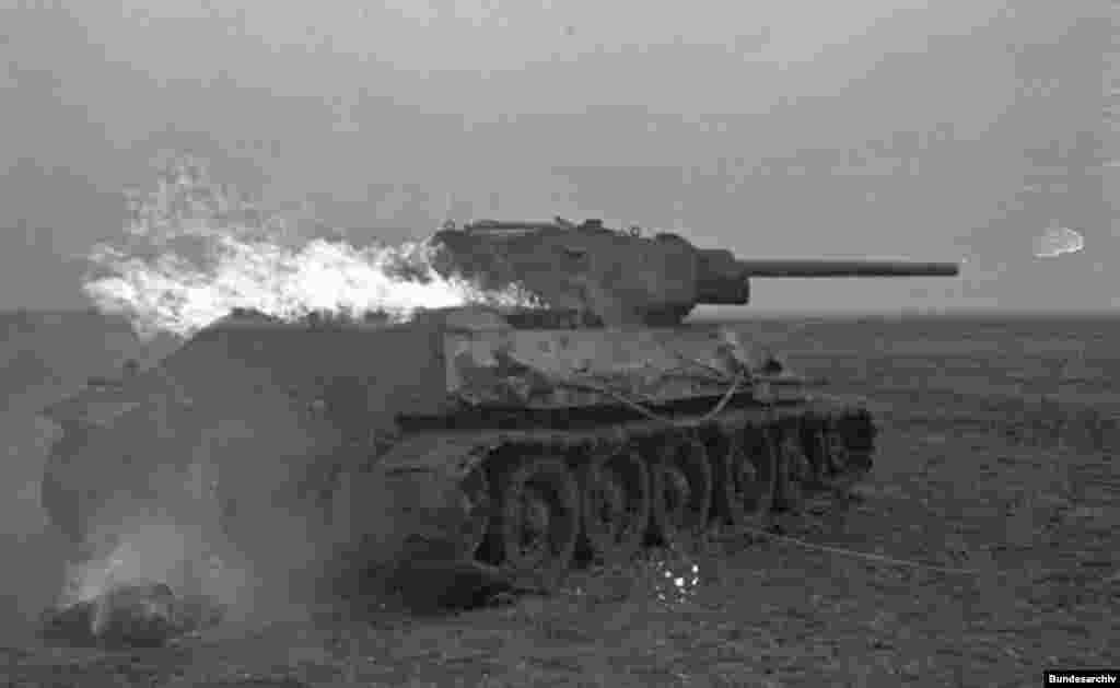 A T-34 on fire, after Nazi Germany's invasion of the Soviet Union in 1941.