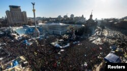 Antigovernment protesters hold a rally in Independence Square in central Kyiv on February 2.