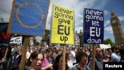 Ұлыбританияның Еуропа Одағынан шығуына қарсы наразылық шеруіне қатысушылар. Лондон, 2 шілде 2016 жыл.