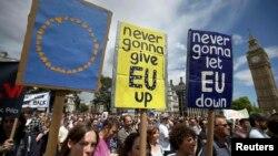 Sa protesta protiv izlaska Britanije iz EU, London, jul 2016.