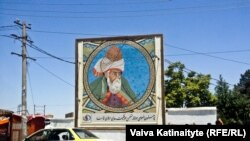 One of many billboards of the Persian poet Rumi in Mazar-e-Sharif, the capital of Afghanistan's Balkh Province, where the writer is believed to have been born.
