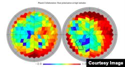 Изображение коллаборации Planck: усредненное излучение пыли на 150 ГГц: от темно-красного (самое сильное) к темно синему (самое слабое). Участок, наблюдавшийся BICEP2, выделен на правом изображении. Видно, что чуть южнее (ближе к центру) есть более перспективные участки