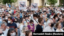 Demonstrators protest against the planned Chinese Fudan University campus in Budapest on June 5.