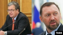 A composite photo of Russian Deputy Prime Minister Sergei Prikhodko and billionaire businessman Oleg Deripaska