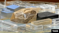 A scale model shows a design for the Mariinsky Theater by French architect Dominique Perrault, which ran into difficulties and was abandoned.