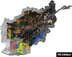 US Geological survey map of the spatial distribution of minerals in Afghanistan,.