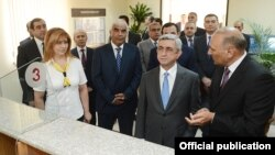 Armenia - President Serzh Sarkisian inspects a newly renovated State Revenue Committee division in Yerevan, 16Jul2013.