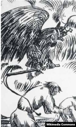 Ілюстрацыя Міхася Філіповіча да паэмы Міхася Чарота «Босыя на вогнішчы». 1922 год