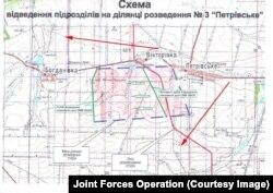 Червоні стрілки позначають напрямок ведення вогню по позиціях ЗСУ