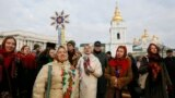 People celebrate Orthodox Christmas in central Kyiv on January 7.