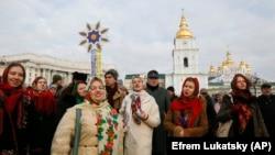 Proslava Božića u centru Kijevu, 7. januara.