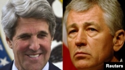 U.S. Secretary of State John Kerry (left) and Defense Secretary Chuck Hagel (combo photo)