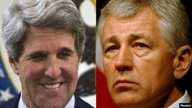 U.S. Democratic Senator John Kerry (left) and former Republican Senator Chuck Hagel