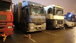 OZOD-VIDEO: Норози юк машиналари Москва халқа йўлини тўсиб қўйди