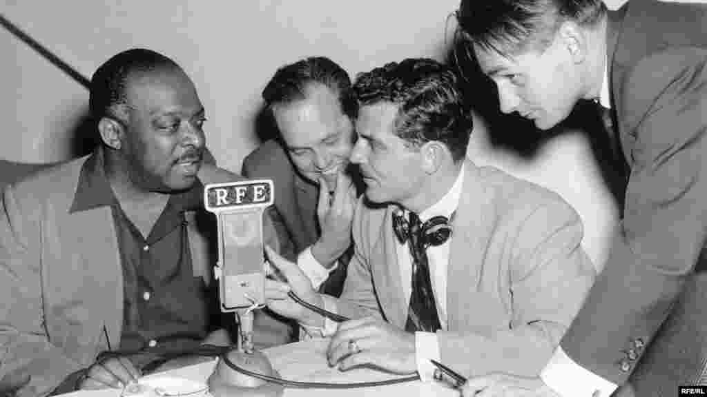 "Jazz musician and bandleader William ""Count"" Basie (left) visits the RFE studios during his 1956 European tour. - Jazz musician and bandleader William ""Count"" Basie (left) visits the RFE studios during a break in his 1956 European tour. Jazz, which the Soviets dismissed as capitalistic, was an important component of the Radios' programming. throughout the years. At one time labeled ""the music of putrescent capitalism"" by the Soviets, jazz was suppressed to varying degrees in the USSR and its satellites. Despite official condemnation, jazz remained popular in the region, and RFE/RL took advantage of this, using music to build a base of devoted listeners. The Radios recorded performances by American jazz artists in New York and Munich for broadcast to their listeners; one of the Radios' biggest jazz coups was the recording and distribution of an album of Soviet jazz compositions smuggled out of the USSR by members of Benny Goodman's orchestra."
