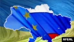 Украина, Европа Биримдиги жана Орусиянын желектери.