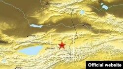 Жер сілкінісінің эпицентрі. Қырғызстан-Қазақстан шекарасы. 28 қаңтар 2013 жыл.