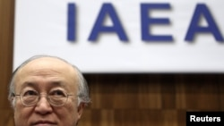 Yukiya Amano at today's IAEA board meeting in Vienna