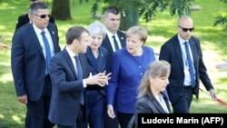 Германската канцеларка Ангела Меркел so британската премиерка Тереза Меј и францускиот претседател Емануел Макрон во Софија
